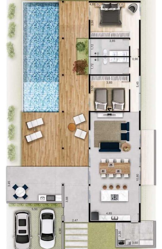 planta de casa com piscina e 2 suites
