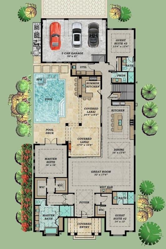 planta de casa com piscina e 3 quartos