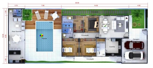 planta de casa com piscina e area gourmet