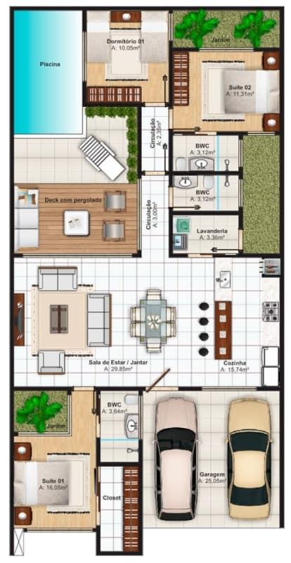 planta de casa com piscina e deck