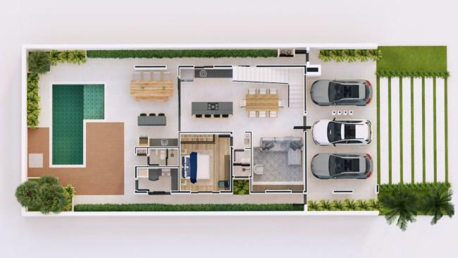 planta de casa com piscina e garagem