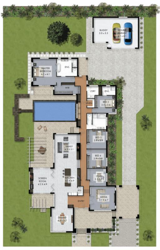 planta de casa com piscina e sala de cinema