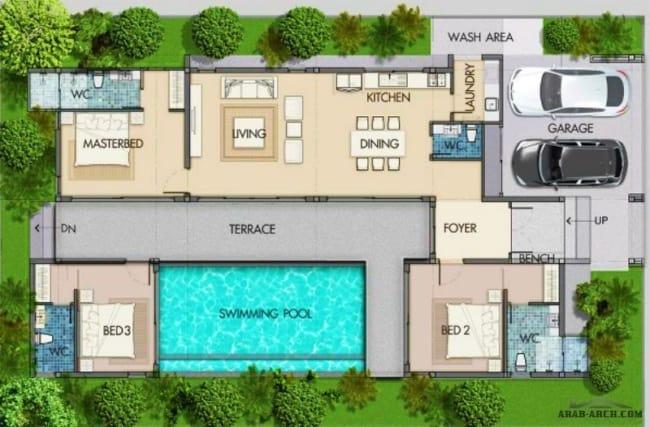 planta de casa com piscina garagem e 3 quartos