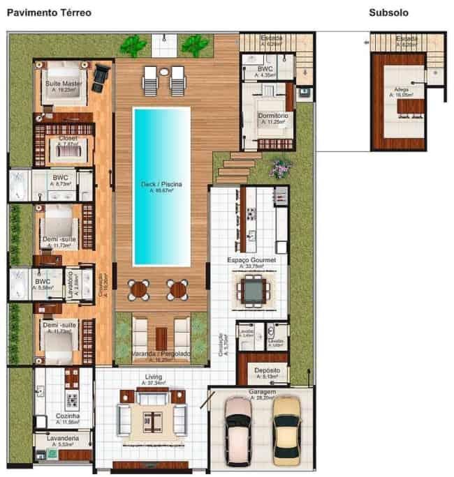 planta de casa com piscina no centro do terreno