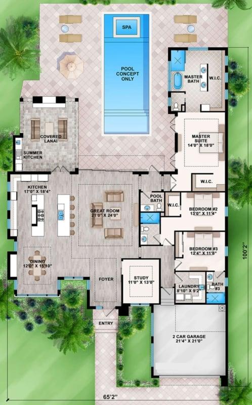 planta de casa grande com 3 quartos