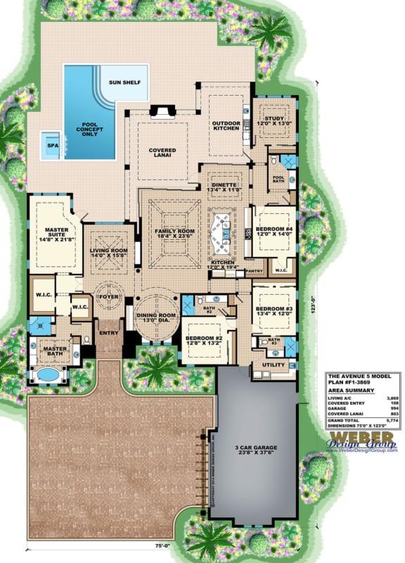 planta de casa grande com 4 quartos e piscina