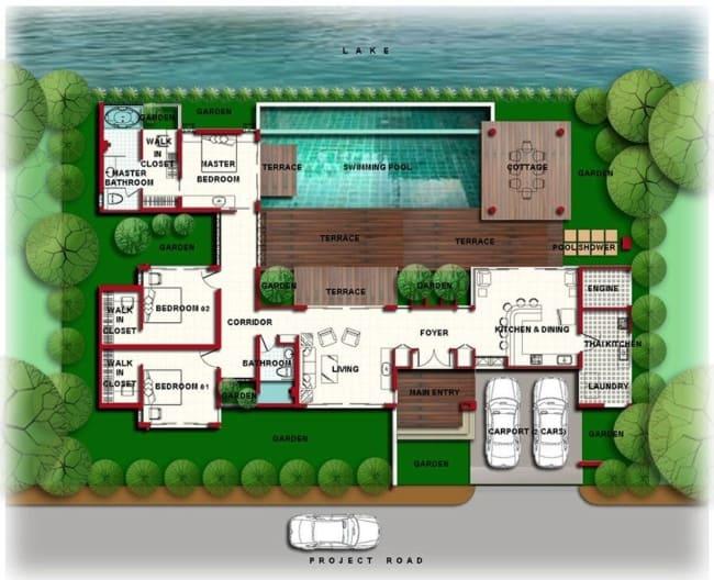 planta de casa no lago com piscina