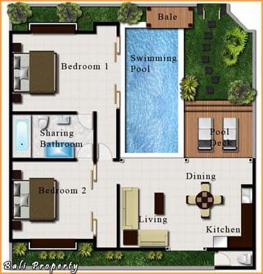 planta de casa pequena com piscina e 2 quartos