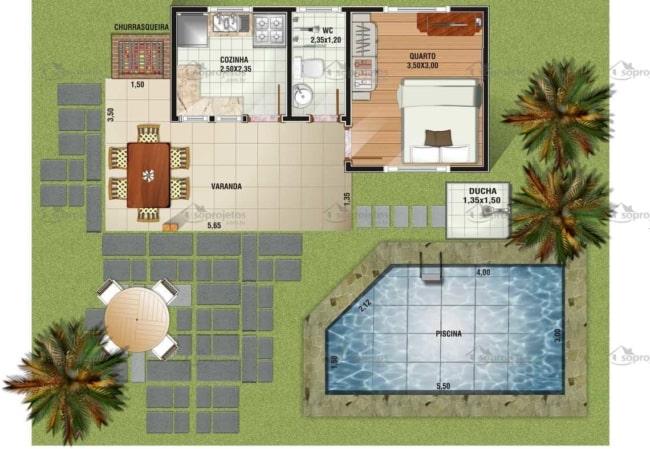 planta de casa pequena com piscina