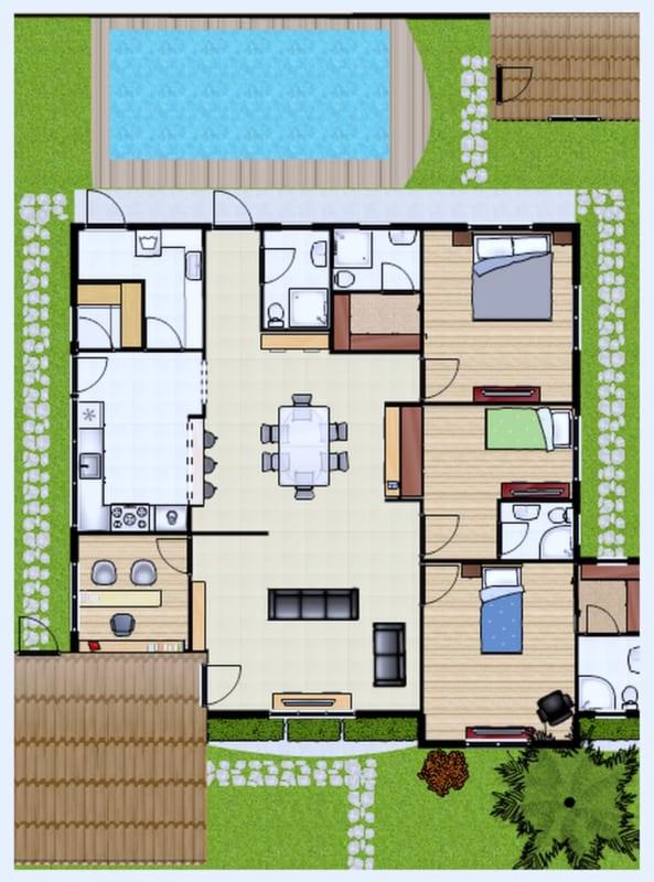 planta simples de casa com piscina e 3 quartos