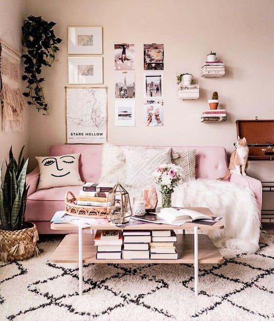 sala aconchegante com sofa rosa