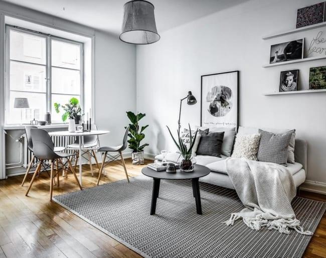 sala cinza minimalista