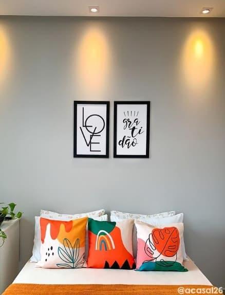 quarto de casal com parede cromio Suvinil