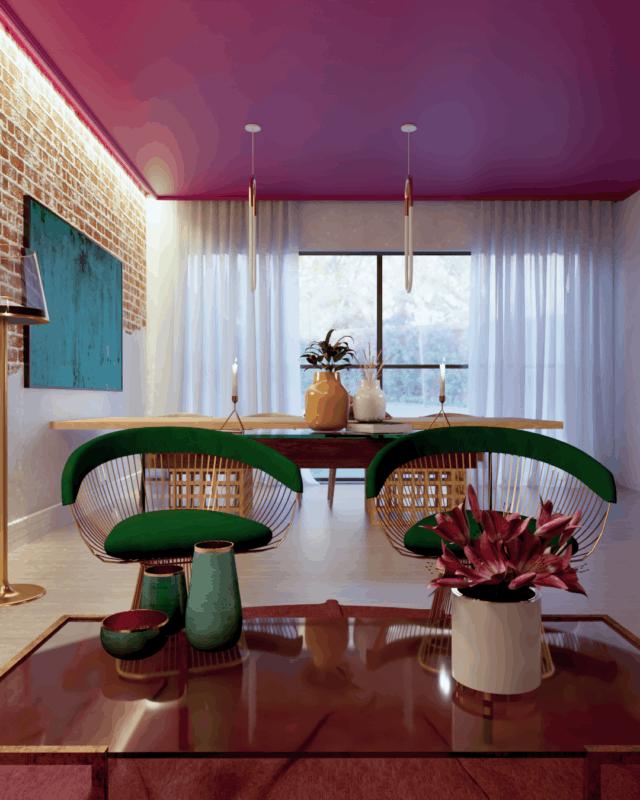 sala moderna com cor magenta no teto