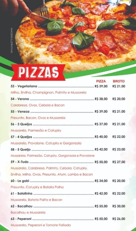 modelo de cardapio para pizzaria