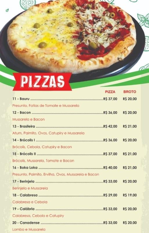cardapio de pizzaria simples