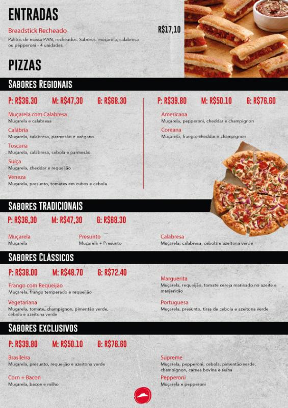 cardapio moderno para pizza