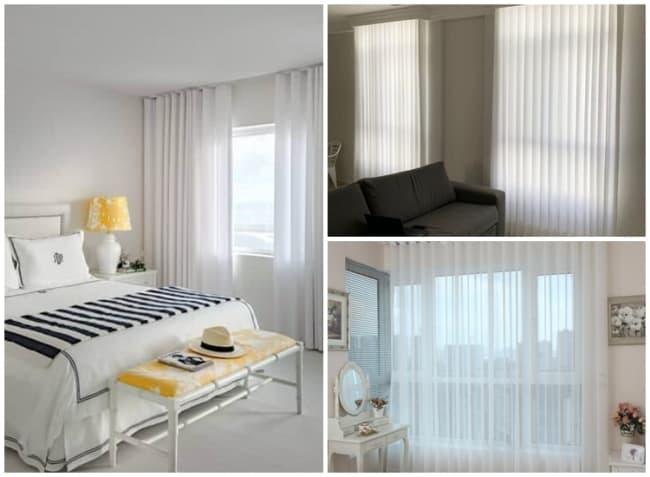 decoracao com cortina de linho branca