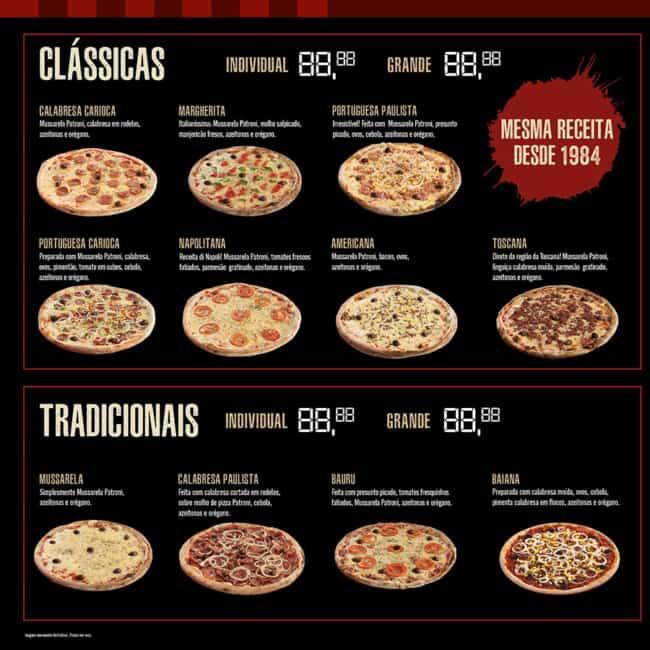 cardapio moderno de pizza