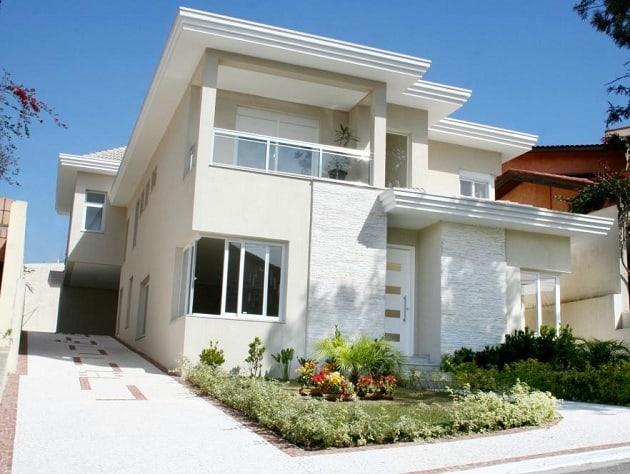 fachada de casa moderna com cor palha