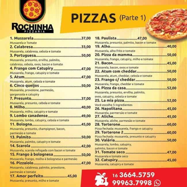 modelo simples de cardapio de pizza