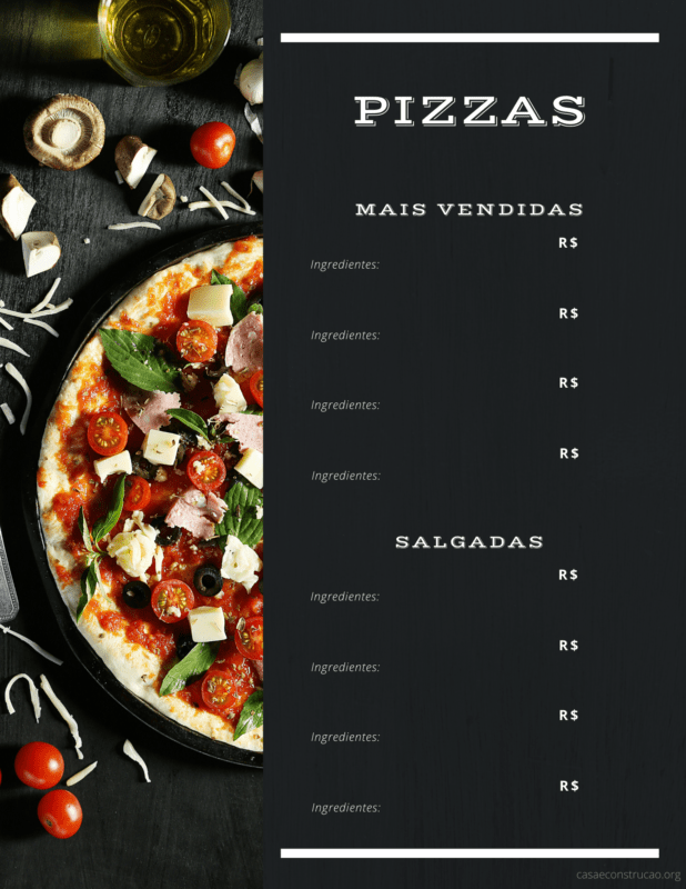 cardapio de pizza para editar