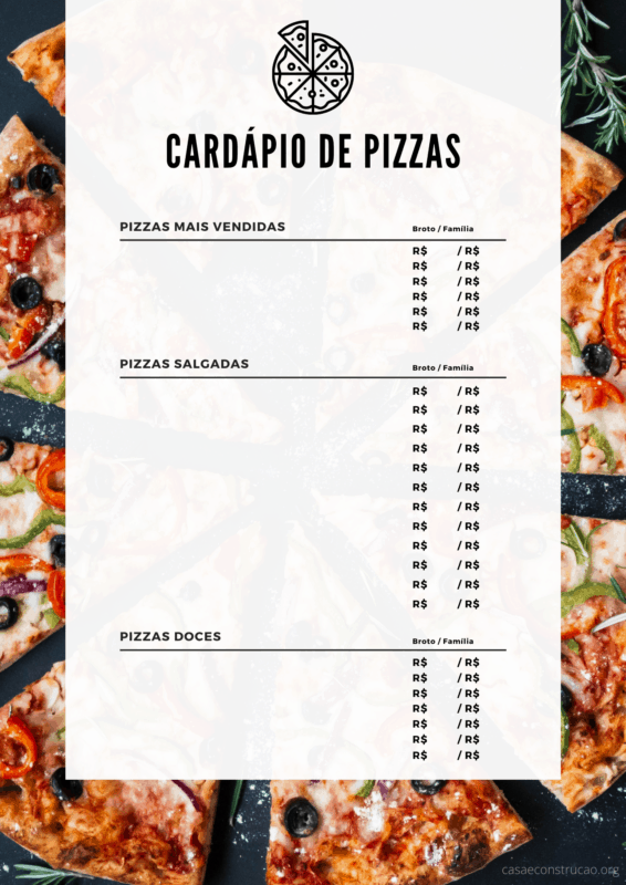 cardapio de pizza para editar e imprimir
