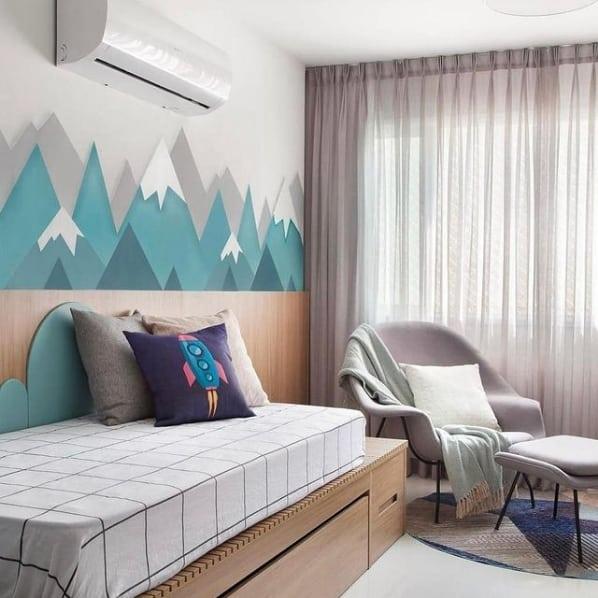 quarto infantil com cortina de linho