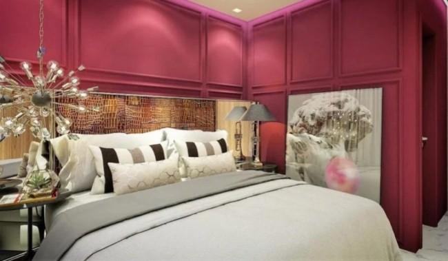 quarto de casal de luxo com parede marsala