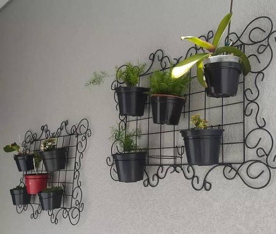 floreiras de parede em ferro