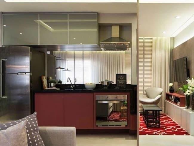 cozinha moderna com cor marsala