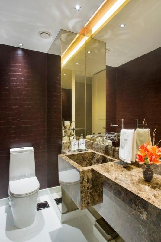 lavabo moderno com parede marsala