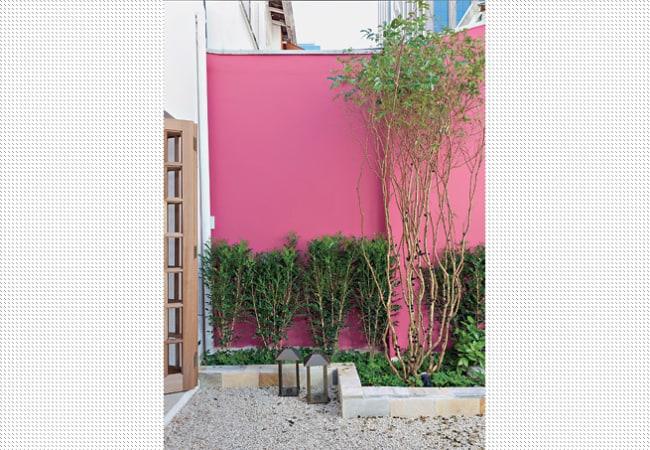 muro externo com cor magenta