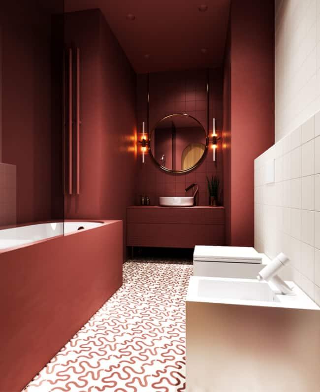 projeto de banheiro marsala