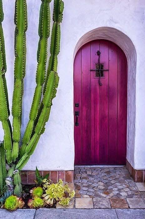 casa com porta magenta