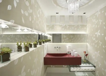 lavabo com bancada cor marsala