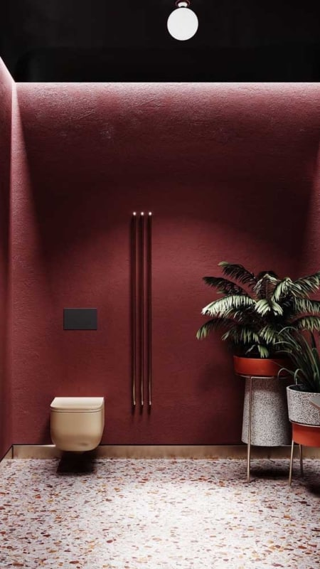 parede marsala para banheiro moderno
