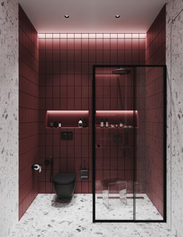 banheiro com revestimentos marsala na parede
