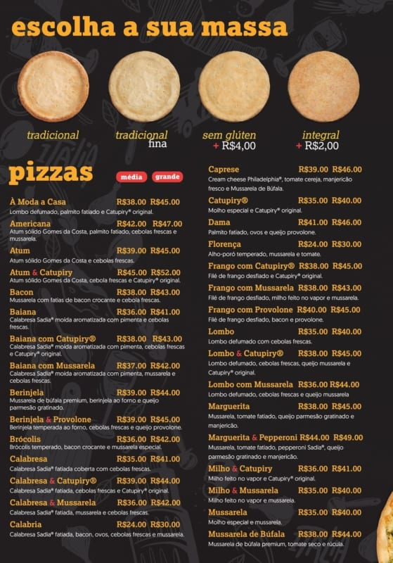 cardapio de pizza com opcoes de massa