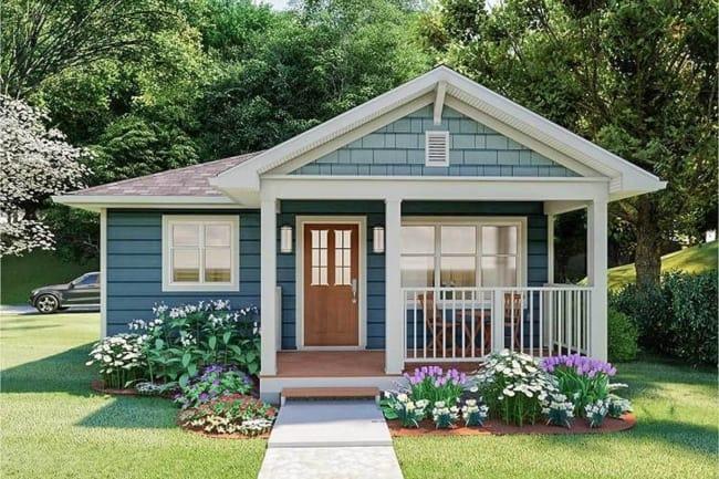 Casa americana com varanda pequena