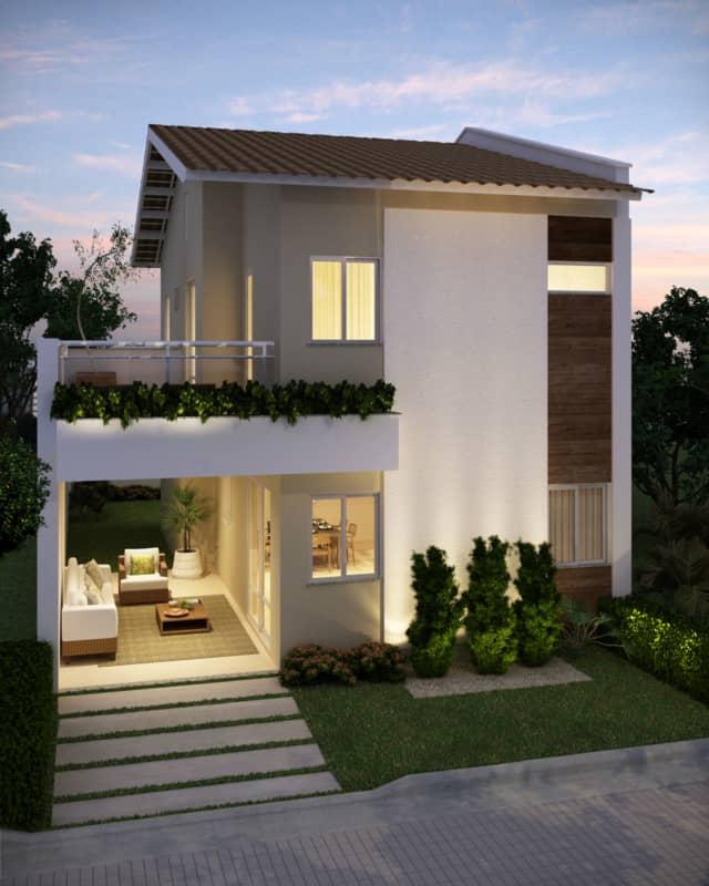 Casa moderna com dois andares e varanda como area de lazer