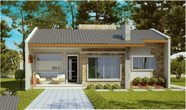 Projeto de casa com pequena varanda na entrada