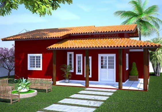 Projeto de casa de campo com varanda e fachada vermelha