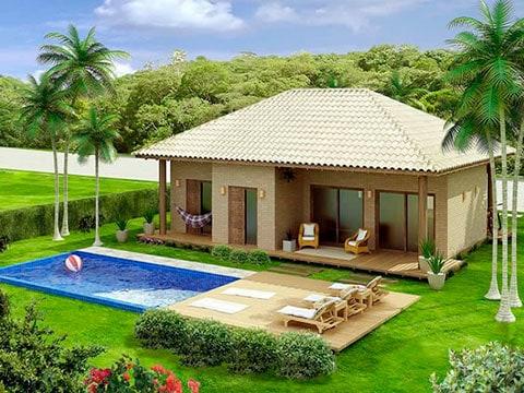 Projeto de casa de campo com varanda e piscina