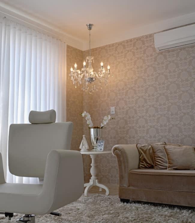 decoracao de salao de beleza em casa com papel de parede