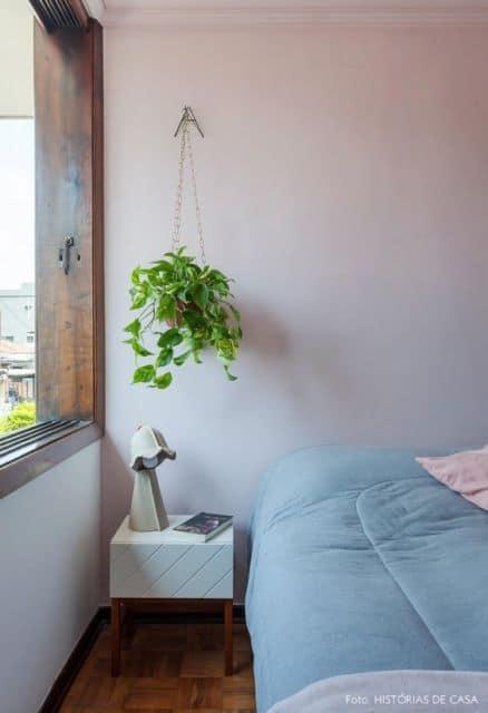 decoracao com planta no quarto