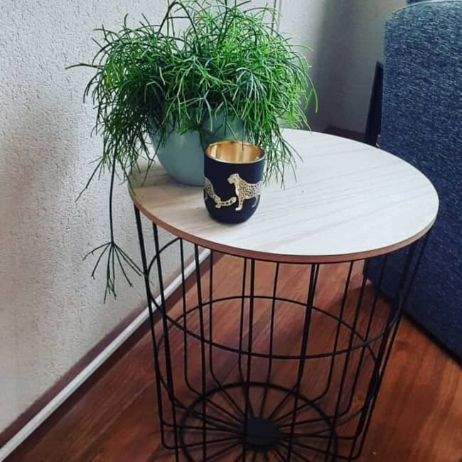 decoracao de mesinha com planta pequena